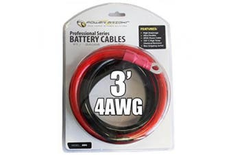 Power Bright 4-AWG3 4 AWG Gauge 0.9m Professional Series Inverter Cables 1000-1500 watt