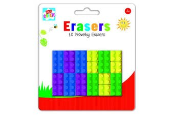 Anker Kids Create/Arts and Crafts Brick Shape Erasers, Plastic, Assorted Colour, 29.7 x 21 x 2 cm