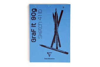 (A6, Plain, Royal Blue) - Clairefontaine Graf It White Sketch Pad, 90 g, A6, 80 Sheets, Royal Blue Cover