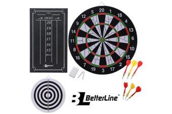 Double-Sided Flocked Dart Board Set - Includes 6 Darts and Cricket Scoreboard Kit - 43 Centimetres (43cm ) Diameter Dartboard - by BetterLine