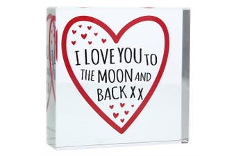 I LOVE YOU TO THE MOON AND BACK Red Heart Large CRYSTAL TOKEN Romantic Gifts Presents For Him Her My Girlfriend Boyfriend Wife Husband Fiance Birthday Christmas Valentines Day Wedding Anniversary