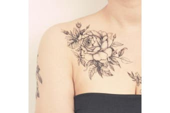 (Flower IV) - COKOHAPPY Temporary Tattoo Rose Floral Flower Black & White - set of 5 Pcs