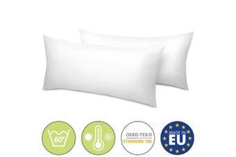 (2er Set 40x80 cm) - Beautissu BeauNuit UK 2 Set Pillows 40x80 cm Washable Cushion 450 g Microfibre Padding - Inner Seam & Hypoallergenic