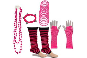 (Hot Pink) - A-Express® Neon UV Legwarmer Gloves Beads Gummies For Tutu Hen Fancy Dress Party Costumes