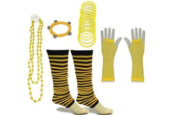 A-Express® Neon UV Legwarmer Gloves Beads Gummies For Tutu Hen Fancy Dress Party Costumes