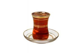 Turkish Tea Glasses & Saucers Set - Gold Trim Design (12 Pc)