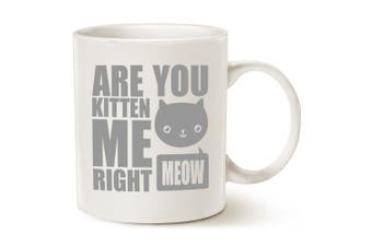 (kitten me mug) - MAUAG Funny Cat Coffee Mugs - Fun Are You Kitten Me Right Meow - Best Cat Lover Gifts Cute Porcelain Cup, White 330ml by LaTazas