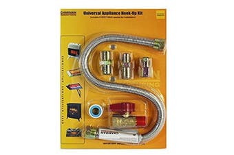 Universal Gas Appliance Installation Kit - 60cm One-Stop Range Hook-Up - Stainless Steel Flexible Connector Line - 1.3cm Brass Flare Shut Off Valve & Couplings - Water Heater Stove Fireplace