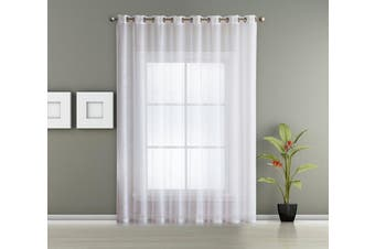 (Patio 260cm W x 210cm L, White) - 1 Extra Wide Patio Grommet Semi Sheer - Curtain Panel by AsaTex - 260cm Wide - 210cm Long - Perfect For Patio and Glass Sliding Door (Patio 260cm W x 210cm L, White)