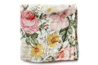 (Garden Floral) - The Mini Scout Muslin Swaddle Blanket - Baby Girl Swaddle Blanket (Floral Baby Blanket)