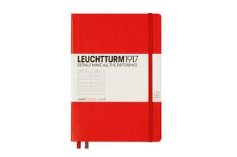 (Red, ruled) - Lighthouse Notebook Medium (A5) lined, Hardcover