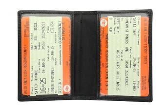 (Black) - Visconti Leather Oyster Card / Travel Pass Holder TC1TC Black