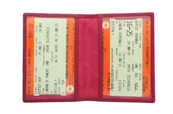 (Fuchsia) - Visconti Leather Oyster Card / Travel Pass Holder TC1TC Fuchsia