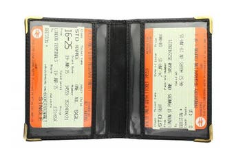 (Black) - Visconti Leather Oyster Card/Travel Pass Holder with Metal Corner Protectors TC5 Black