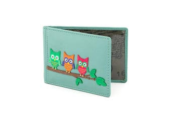 (Blue) - Owl Applique Leather Oyster Card / Travel Pass Holder by Yoshi (Blue)