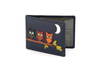 (Navy) - Owl Applique Leather Oyster Card / Travel Pass Holder by Yoshi (Navy)