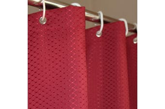 (36Wx72L, Red) - Eforcurtain Small Stall Size 90cm by 180cm Waffle Pattern Hotel Fabric Shower Curtain Water Resistant, Heavy Weight Bath Curtain Mildew Repellent with Rust Proof Metal Grommets, Red Colour
