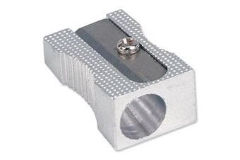 (1, Silver) - Brand New. 5 Star Pencil Sharpener Pocket-sized Metal for Max. Diameter 8mm Single Hole