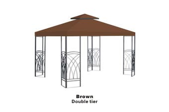 BenefitUSA Brown Double Tier Replacement 3mX3mGazebo Canopy top Patio Pavilion Cover Sunshade plyester