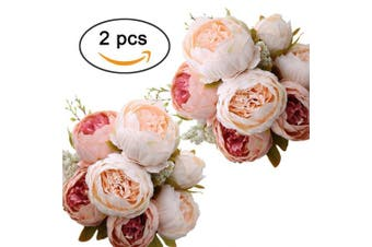 (Light Pink X2) - Ogrmar Vintage Artificial Peony Silk Flowers Bouquet for Decoration (Light pink x2)