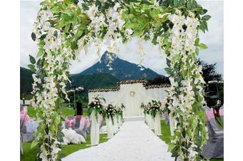 (White) - 5 Pcs-9.4m Artificial Silk Wisteria Flowers Hanging Vine Faux Fake Plants Flowers Hanging Vine Artificial Ivy Leaves Garland Ratta Green leaf Ivy Garland Decor for Kitchen Wedding Home Party(White)