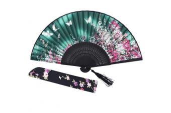 """(FAN-3) - Amajiji Woman Girls Gift 8.27""""(21cm) Bamboo Wood Silk Hand Held Folding Pocket Purse Hand Fan NQE (Fan-3)"""