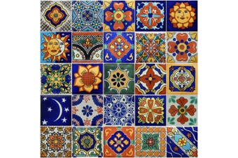 50 Hand Painted Decorative Talavera Mexican Tiles 5.1cm x 5.1cm