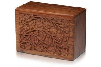 (Large) - Tree of Life Hand-Carved Rosewood Urn Box - Large