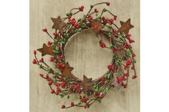 Red & Green Pip Berry Ring Mini Wreath With Rusty Stars Country Primitive Christmas Holiday Decor