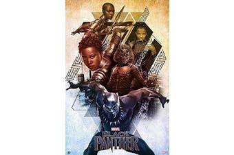 (Tesa Poster Strips, Tesa Poster Strips) - Black Panther - Marvel Movie Poster / Print (Character Collage) (Size: 60cm x 90cm ) (Poster & Poster Strip Set) (By POSTER STOP ONLINE)