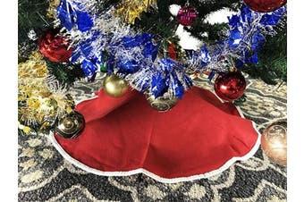 (1#. Red W) - Christmas Elegance 80cm Red Non-Woven Christmas Tree Skirt - White Edge