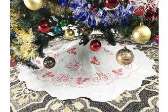 (4#. White - Red Design) - 100cm White Non-Woven Christmas Tree Skirt - Red Design