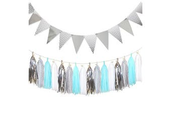 (Silver+blue+white+polka Dot) - Shiny Paper Pennant Banner Triangle Flag 2.5m and Gold Tissue Paper Tassels Garland 20 pcs for Baby Shower, Birthday Party, Home Wall Decoration, Silver+Blue+White