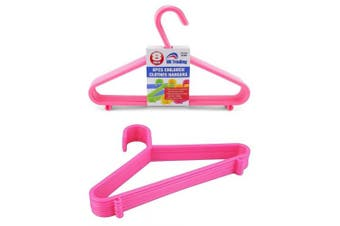 16 x PINK CHILDREN PLASTIC COAT HANGERS- 29cm wide ideal for baby & toddler clothes .