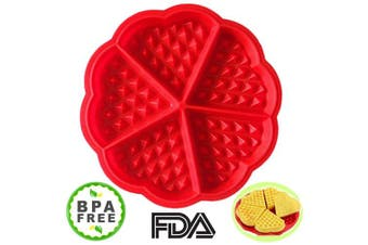 Waffle Mould Amison Bakeware Silicone Waffle Baking Moulds Flower Heart Shape Muffin Mould, Red