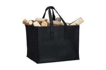 (Black) - Relaxdays Felt Firewood Basket, HxWxD: 34.5 x 43 x 36.5 cm, 2 Handles, Foldable, Newspaper Holder, Black