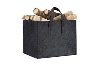 (Grey) - Relaxdays Foldable Felt Firewood Basket with 2 Handles, Grey, 34.5 x 43 x 36.5 cm