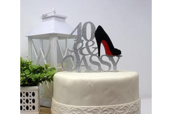 (Silver & Black) - All About Details 40 & Sassy Cake Topper (Silver & Black)