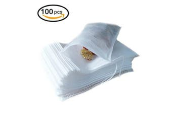 Tea Filter Bags, Disposable Empty Tea Bags, Loose Leaf Tea Infuser, Safety and Environmental Food-Grade Drawstring Tea Bags, Set of 100 (8cm x 10cm )
