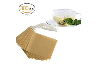 (300 pieces) - ANPHSIN 300 Pieces Tea Filter Bags, Large Size 8.9cm x 6.9cm Disposable Tea Infusers,Drawstring Empty Bags for Loose Leaf, Safe & Natural Material