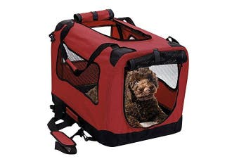 (Small 50cm , Rawhide Red) - 2PET Foldable Dog Crate - Soft, Easy to Fold & Carry Dog Crate for Indoor & Outdoor Use - Comfy Dog Home & Dog Travel Crate - Strong Steel Frame, Washable Fabric Cover, Frontal Zipper - Choose yours.