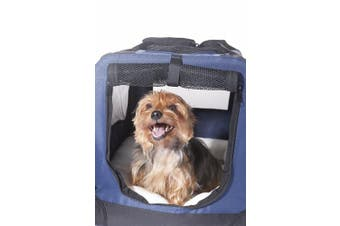(Small 50cm , Bonny Blue) - 2PET Foldable Dog Crate - Soft, Easy to Fold & Carry Dog Crate for Indoor & Outdoor Use - Comfy Dog Home & Dog Travel Crate - Strong Steel Frame, Washable Fabric Cover, Frontal Zipper - Choose yours.