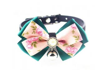 (Green) - CocoPet Luxury Handmade Bling Rhinestone Pet Cat Dog Bow Tie Collar with Bell Necklace Jewellery for Small Doggie Cats Pets Female Puppies Chihuahua Yorkie Girl Costume