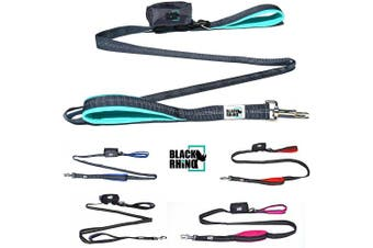 (1.8m, Aqua/Grey) - Black Rhino The Comfort Grip - Heavy Duty Dual Handle Dog Leash for Med - Large Dogs | 1.8m Long | Double Handle Lead for Dog Training Walking & Running Neoprene Padded Handles - Poop Bag Pouch Included