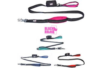 (1.8m, Pink/Black) - Black Rhino The Comfort Grip - Heavy Duty Dual Handle Dog Leash for Med - Large Dogs | 1.8m Long | Double Handle Lead for Dog Training Walking & Running Neoprene Padded Handles - Poop Bag Pouch Included