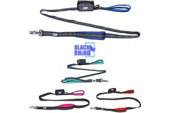 (1.8m, Blue/Grey) - Black Rhino The Comfort Grip - Heavy Duty Dual Handle Dog Leash for Med - Large Dogs | 1.8m Long | Double Handle Lead for Dog Training Walking & Running Neoprene Padded Handles - Poop Bag Pouch Included