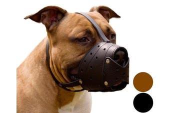 (Black) - Pit Bull PitBull Terrier Secure Basket Dog Muzzle Genuine Leather Staffordshire Terrier