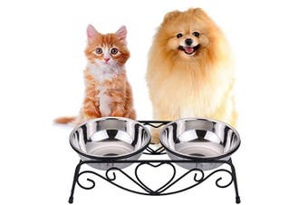 (Small) - CICO Pet Feeder for Dog Cat, Stainless Steel Food and Water Bowls with Iron Stand