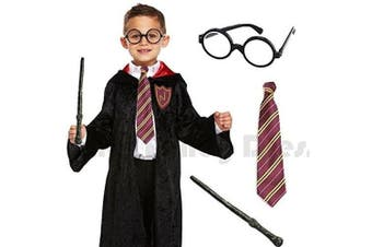 (Large 10-12 Years) - Blue Planet Fancy Dress ® Deluxe Childrens Kids Boys Wizard Robe, Tie, Glasses & Wand Book Week Day Costume Outfit (Large 10-12 years)