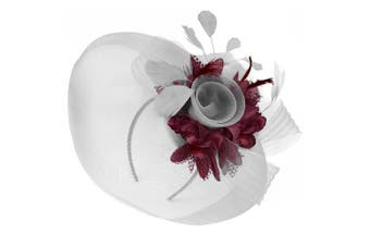 (Silver and Burgundy) - Caprilite Silver Feather Flower Fascinator Hat Veil Net Headband Clip Ascot Derby Races Wedding